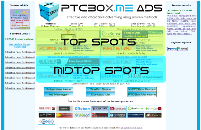 PTCBox.Me Advertising Zones